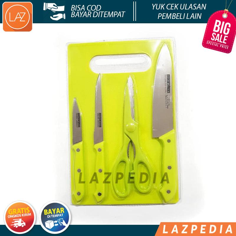 Laz COD - Pisau Set 5in1 / Paket Alat Dapur 3 Pisau + 1 Gunting +