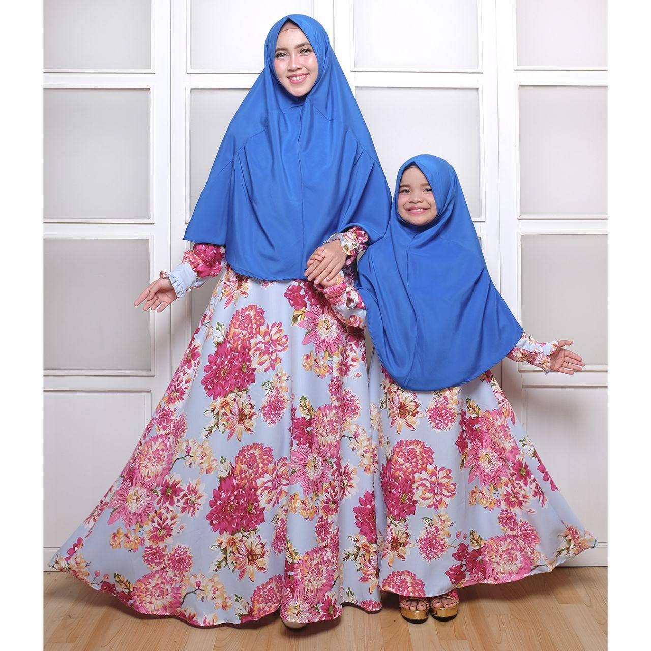 Fitur Couple Store Cs Pasangan Syari Ibu Dan Anak Flower Rose Maroon Gamis Tanpa Bergo Ruliva Dress Katun Jepang Khimar