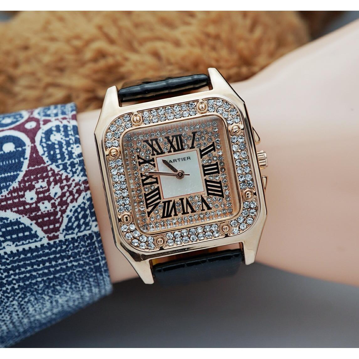 Jam Tangan Cartier Adriaana - Limited Edition Elegant Series-Pria Wanita Formal Kasual Terbaru-Women or Men Luxury Watch-Leather Strap-Kulit Kanvas Army Kekinian Sporty Fashionable Bonus Zippo Premium Beam Korek Free Trend 2018
