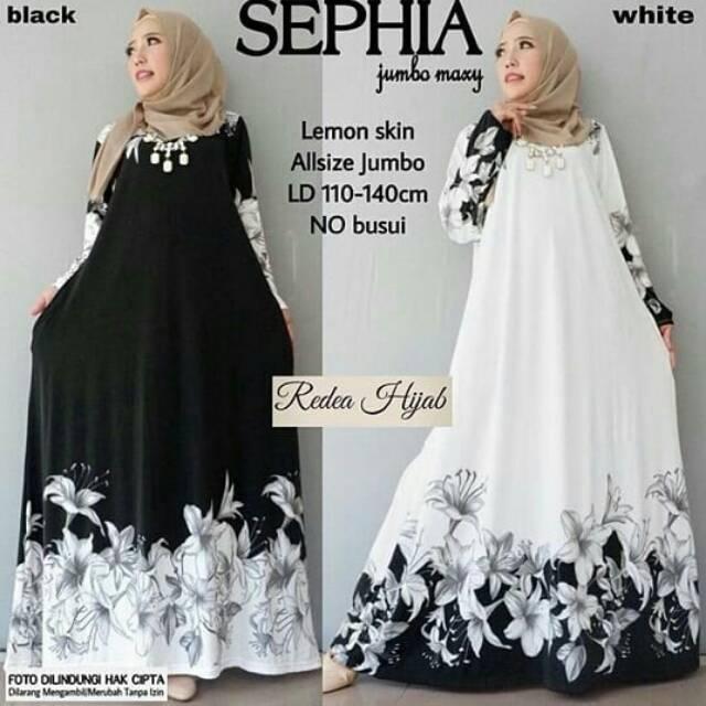Sephia Gamis Muslim Jumbo Big Size Dress Jersey Lemon Hitam Putih Murah