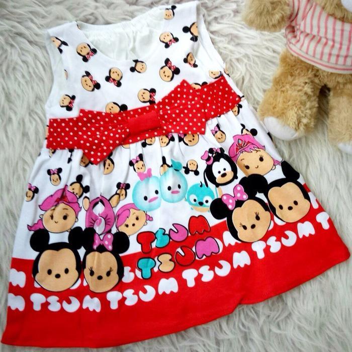 Kualitas Dress Baju Bayi Anak Tsum Tsum Series Dress Anak