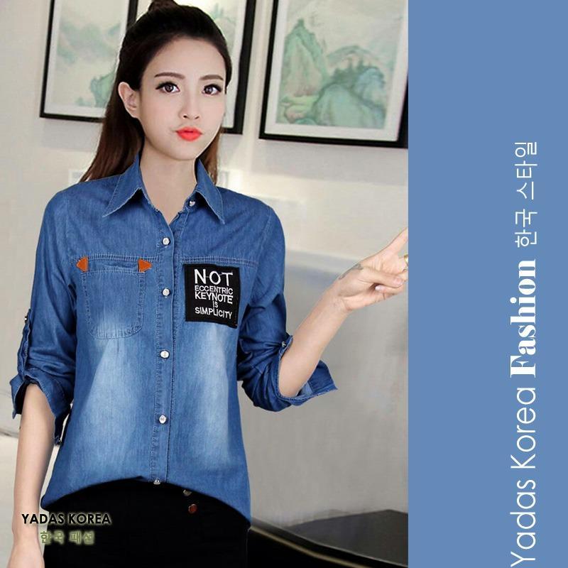 Jual Yadas Korea Miranda Kemeja Jeans Wanita 8807 Blue Black Yadas Korea Ori