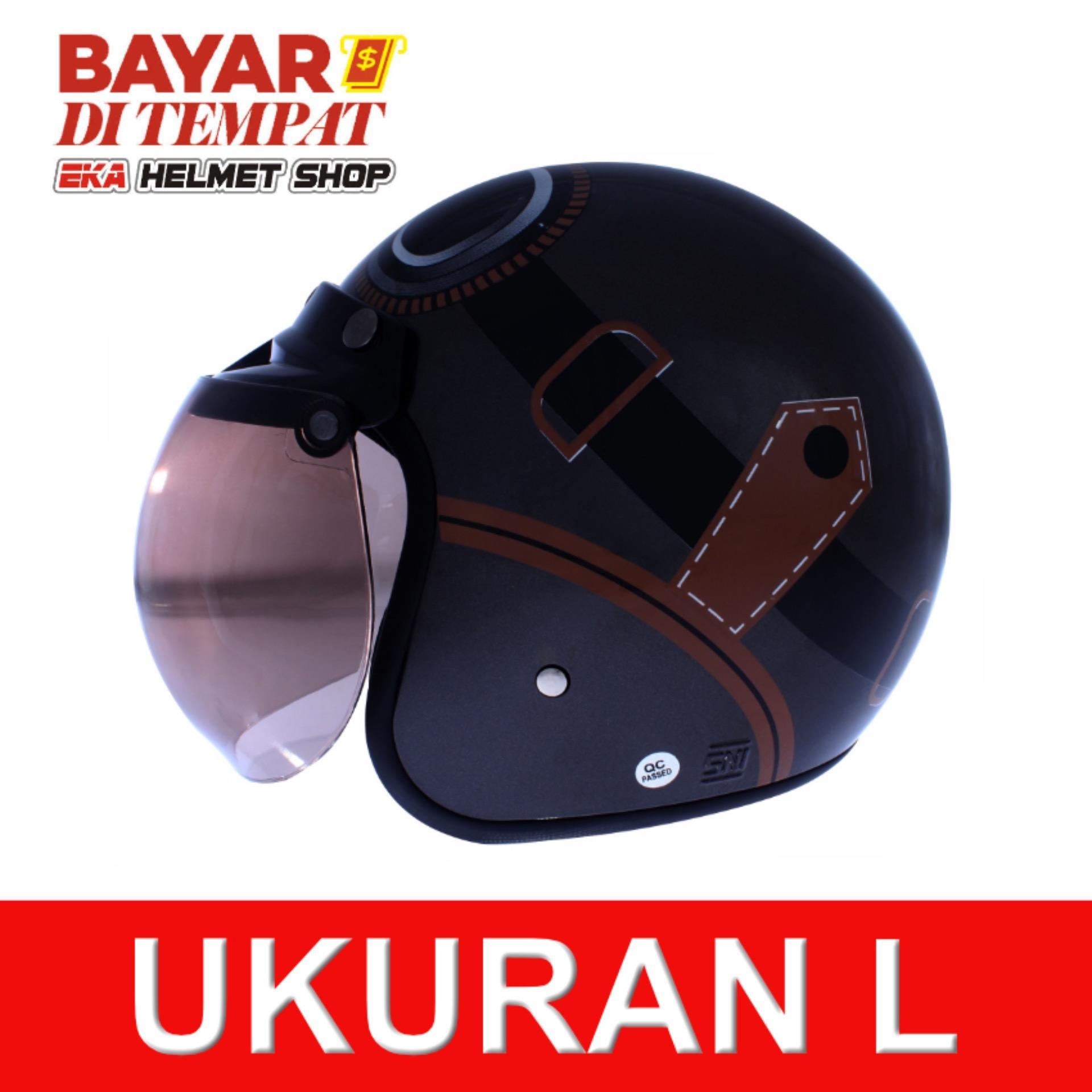 Diskon Wto Helmet Retro K3 Kacamata Abu Abu Cokelat