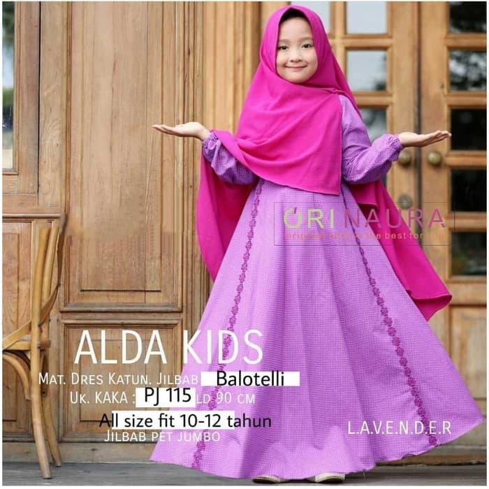 Lihat Set Gamis Anak Perempuan Baju Muslim Katun Alda Kids Orinaura