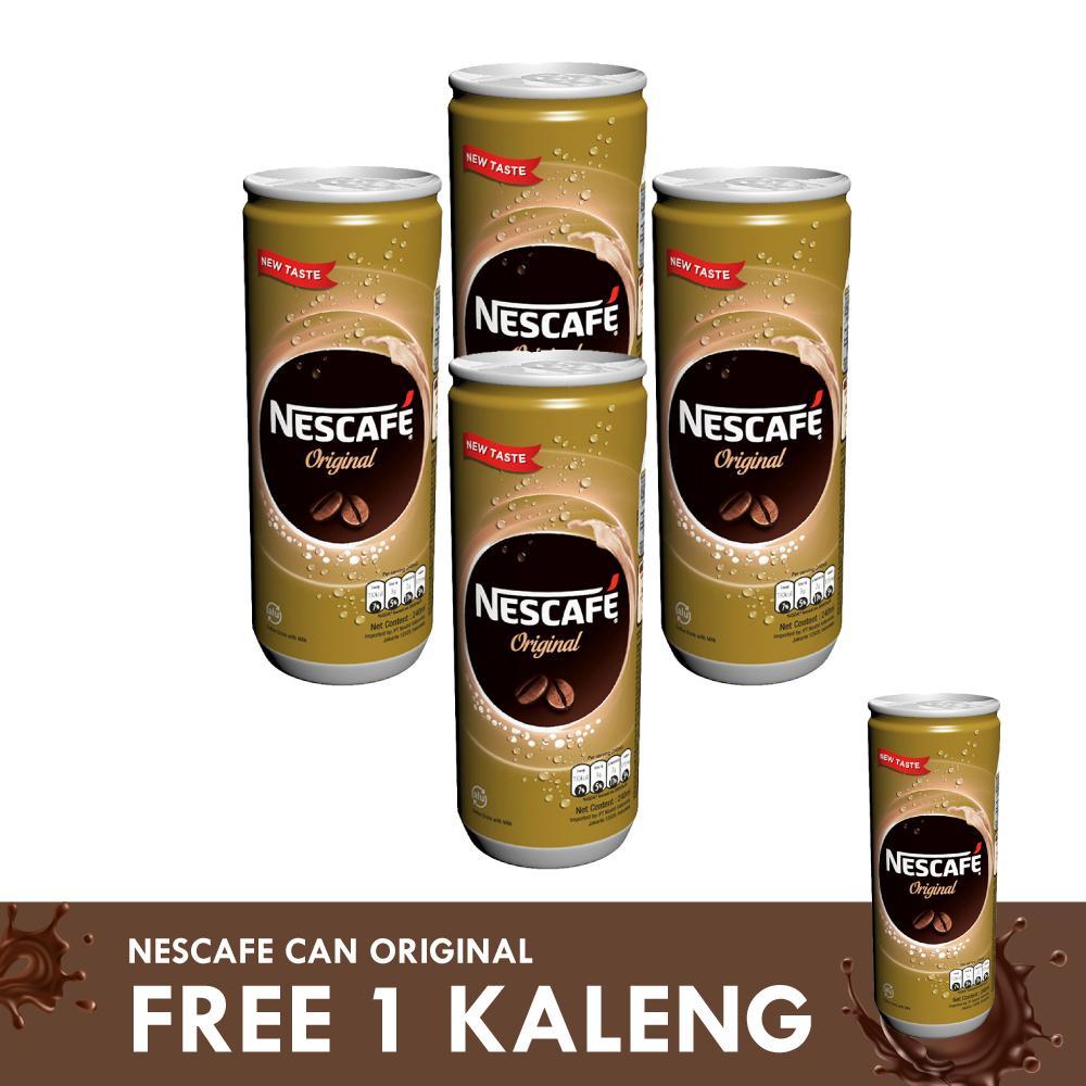 NESCAFE Original Minuman Kopi Siap Minum Kaleng 240ml [4 Pcs] Free 1 Kaleng