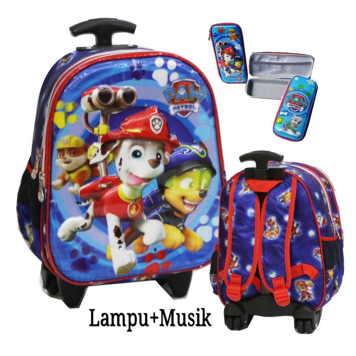 Spesifikasi Onlan Tas Lampu Music Trolley Anak Sekolah Tk Atau Pg Motif Karakter Anak Laki Laki 5D Timbul Import Kotak Pensil Blue Bagus