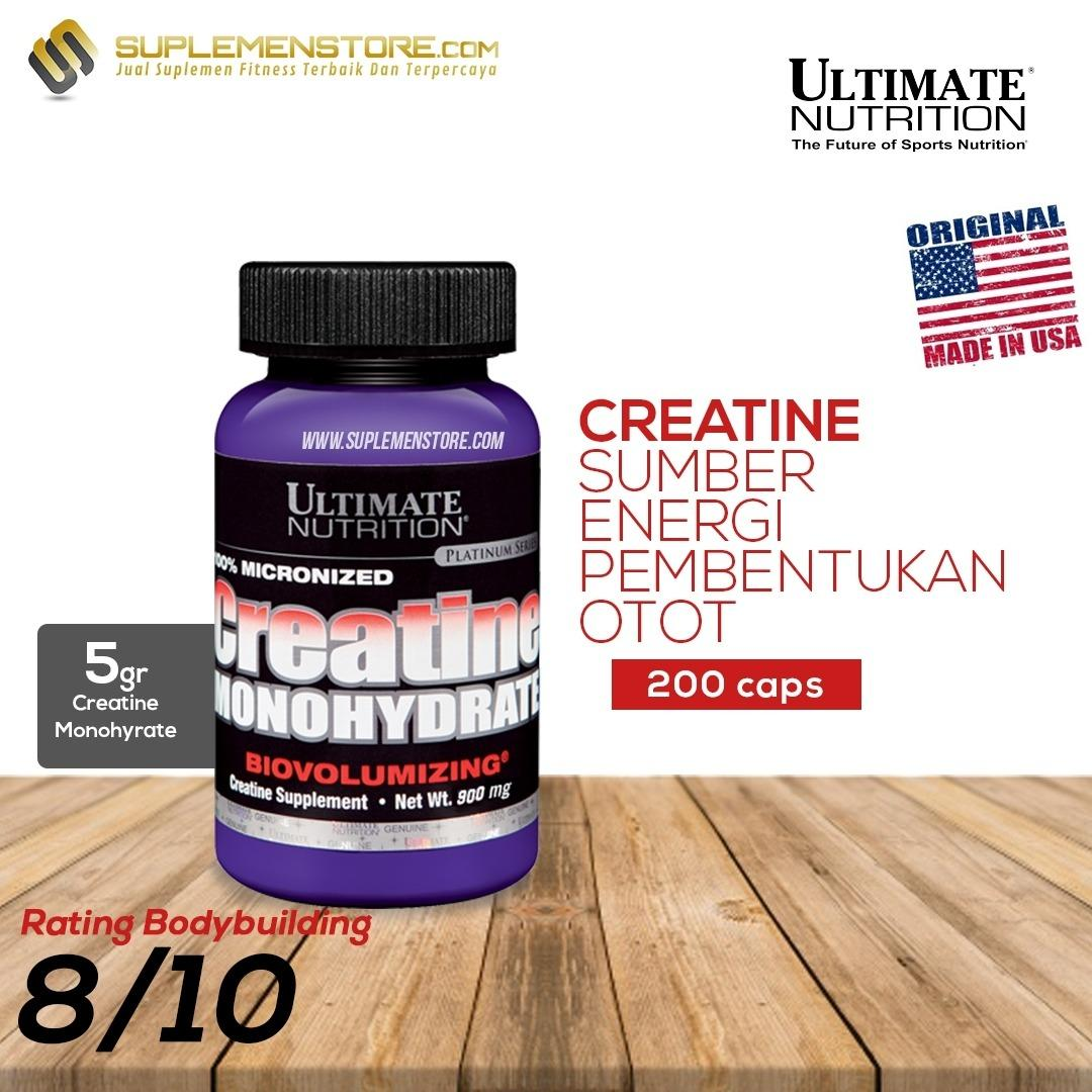 Jual Ultimate Nutrition Creatine Monohydrate 200 Capsules Branded Murah