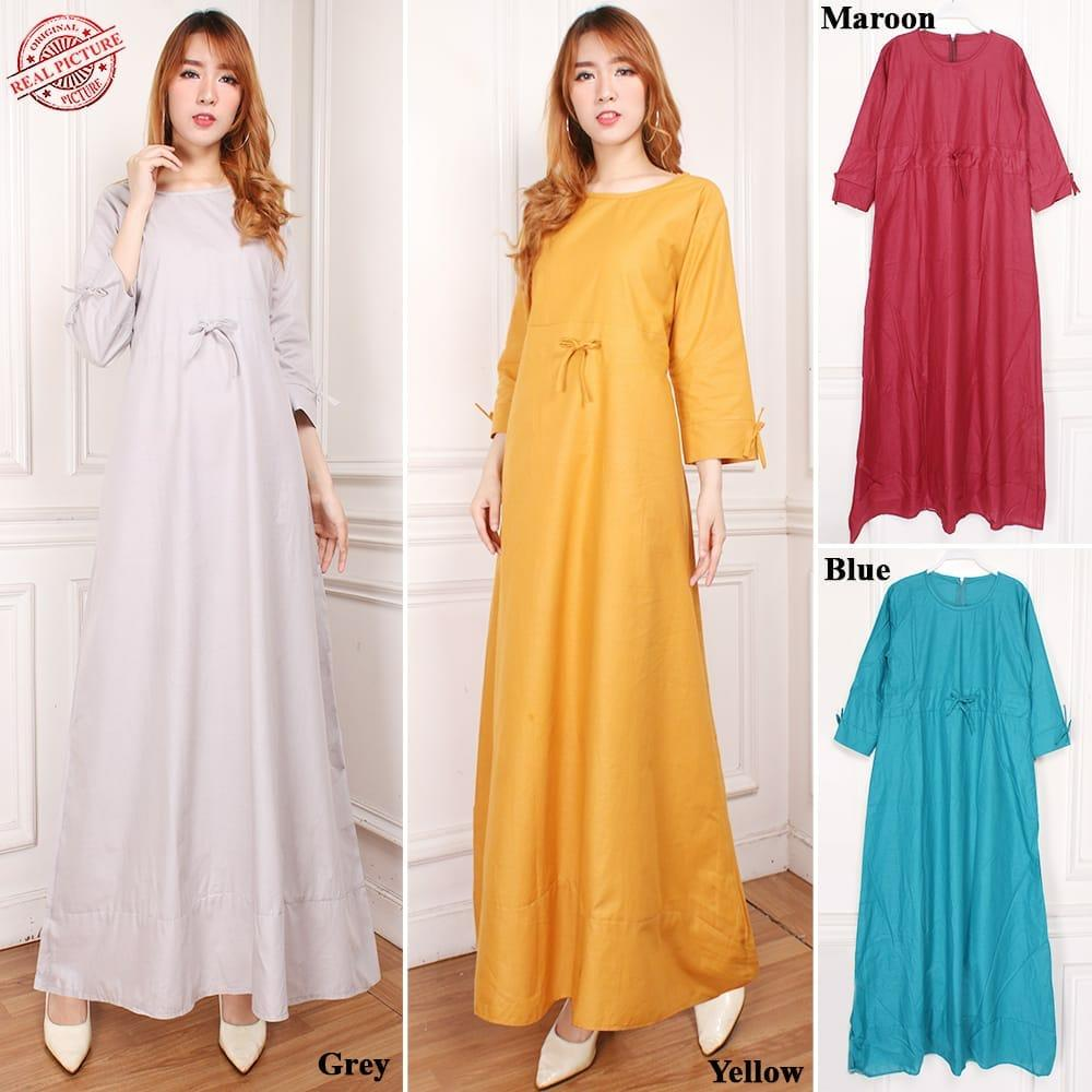 SB Collection Gamis Maxi Dress Syafira Longdress Terusan Casual Polos Wanita