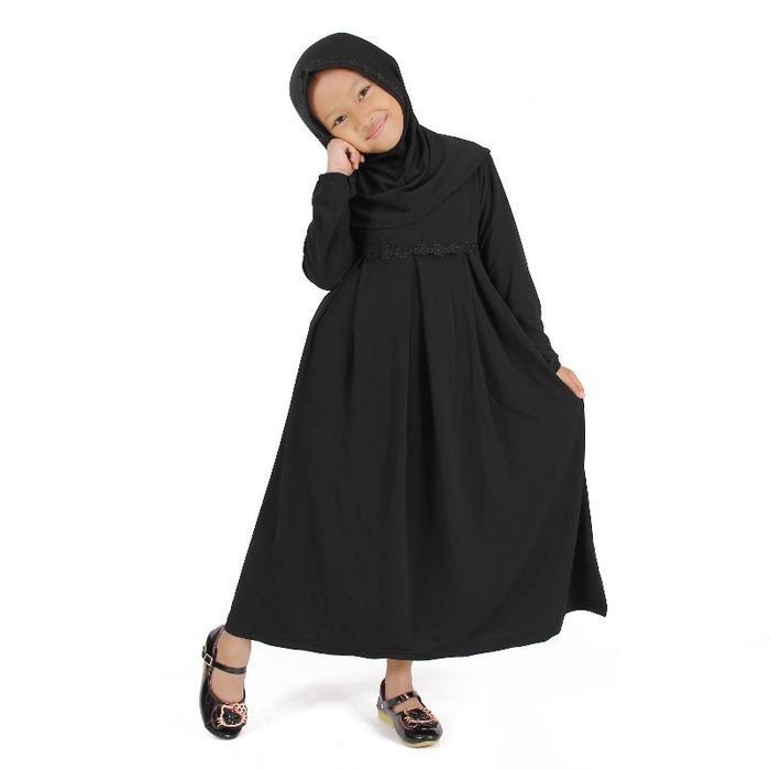 Baju Muslim Gamis Anak Perempuan Hitam Lucu Simple Murah