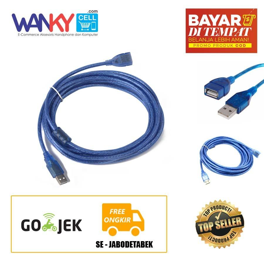 Kabel USB 2.0 Extension Male To Female 3M - Biru
