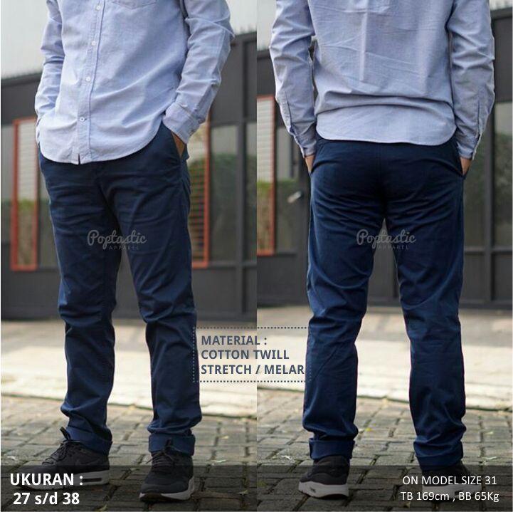 Celana Chino Pria Skinny Slim fit - Biru Dongker.jpg