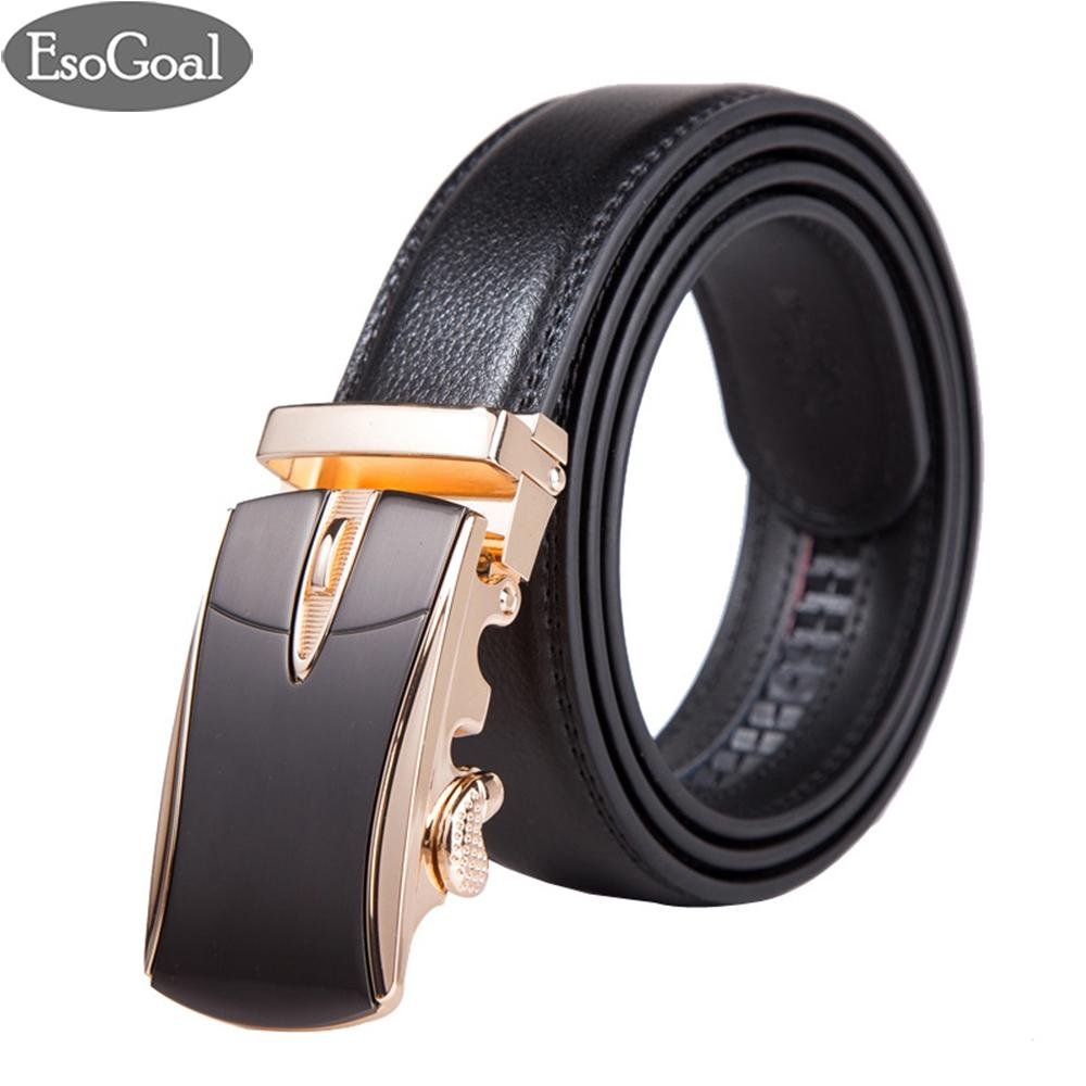 Harga Esogoal Belts Mens Leather Ratchet Comfort Cilp Adjustable Automatic Sliding Buckle Belt Black Glod Intl Yg Bagus