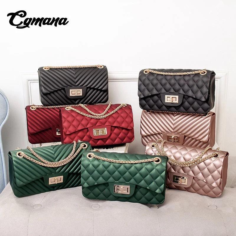 Tas Fashion jelly matte mini bag import free boneka dan syal jely rantai goll selempang motif v high quality import - 5