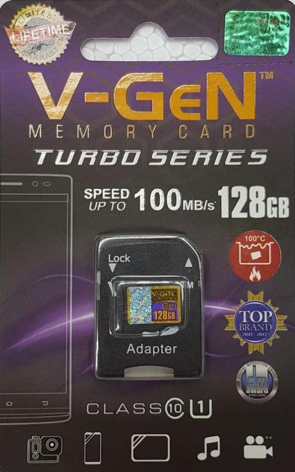 Memori Micro SD V-GeN Memory Card 128gb + adaptor Turbo Class 10 Vgen C10