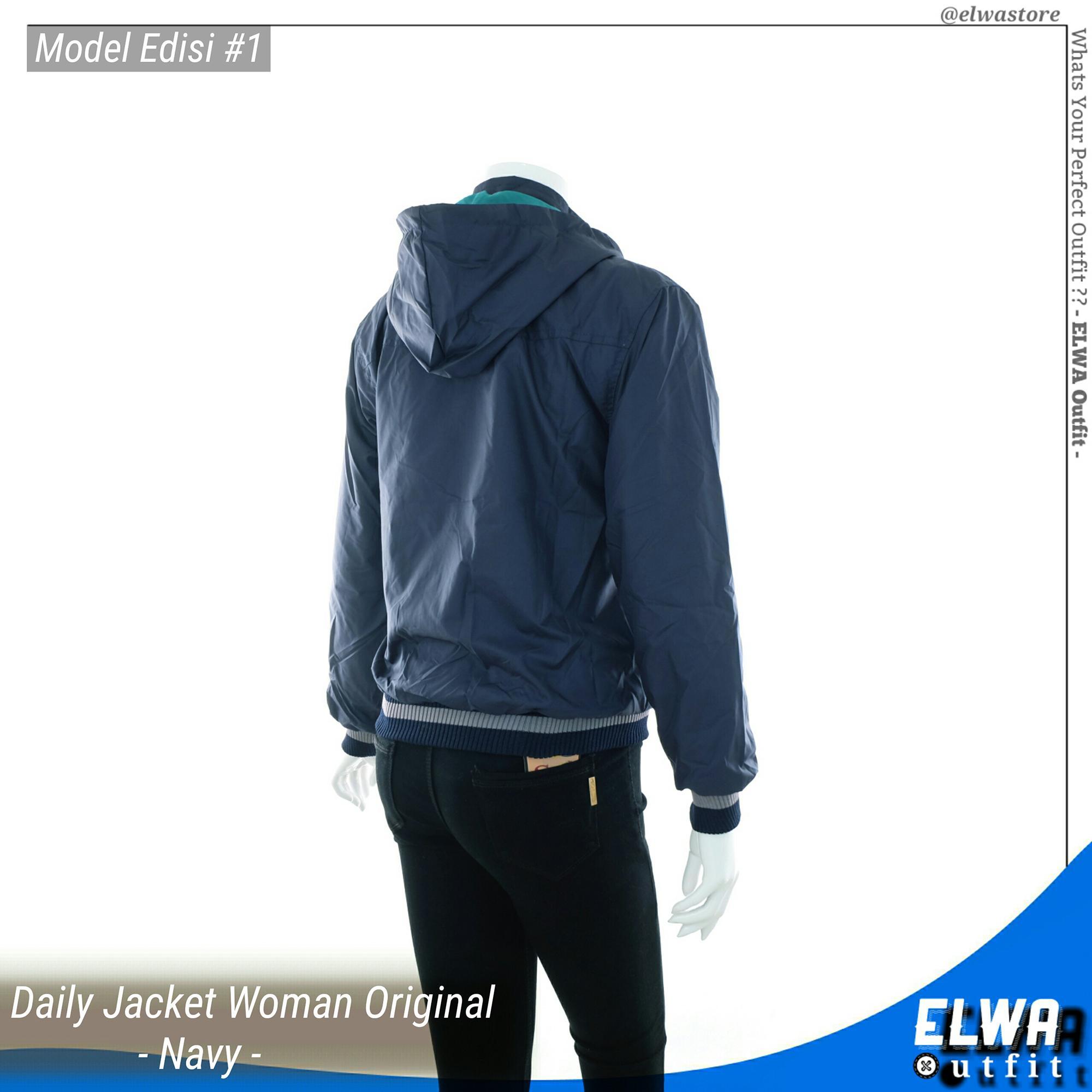 ... ELWA Edisi 1 - Jaket Motor Harian Wanita Anti Angin Waterproof Bolak Balik [Navy] ...