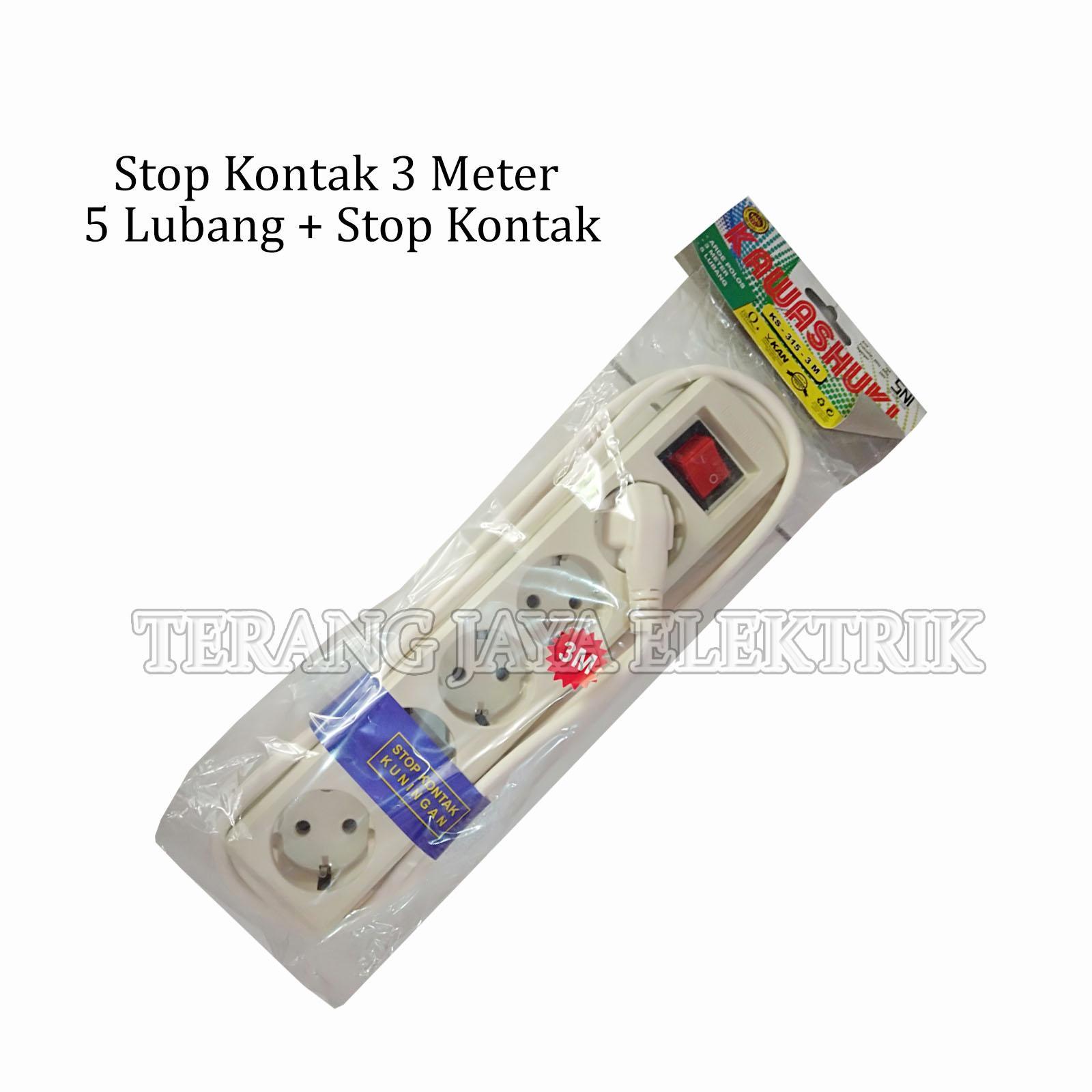 Detail Gambar Stop Kontak/Colokan Listrik 3 Meter 5 Lubang + Switch KAWASHUKI Terbaru