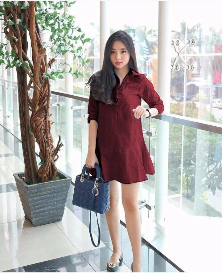 Hoziro - Baju / Atasan / Long Blouse / Dress / Dress Midi / Dress Polos / Dress Wanita Liora Bahan Twistcone