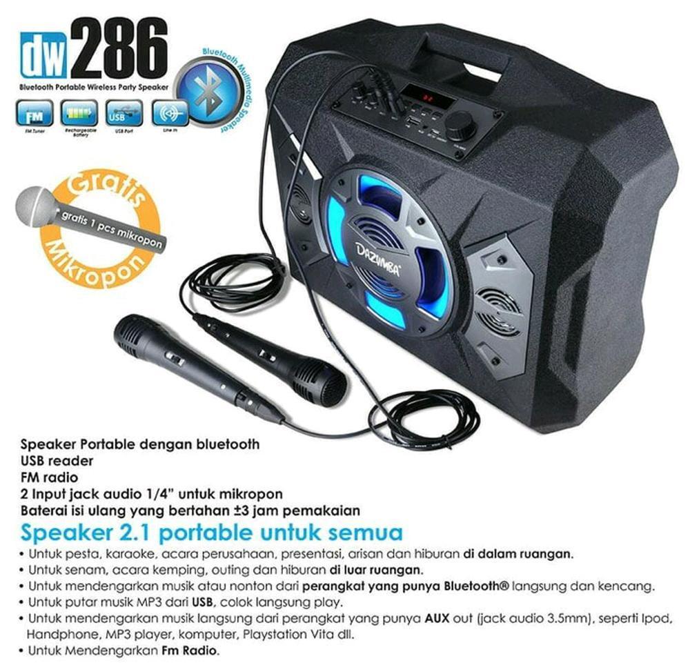 Speaker Portable Dazumba Dw 286 Superr Bass Bluetooth Karaoke + Free Microphone