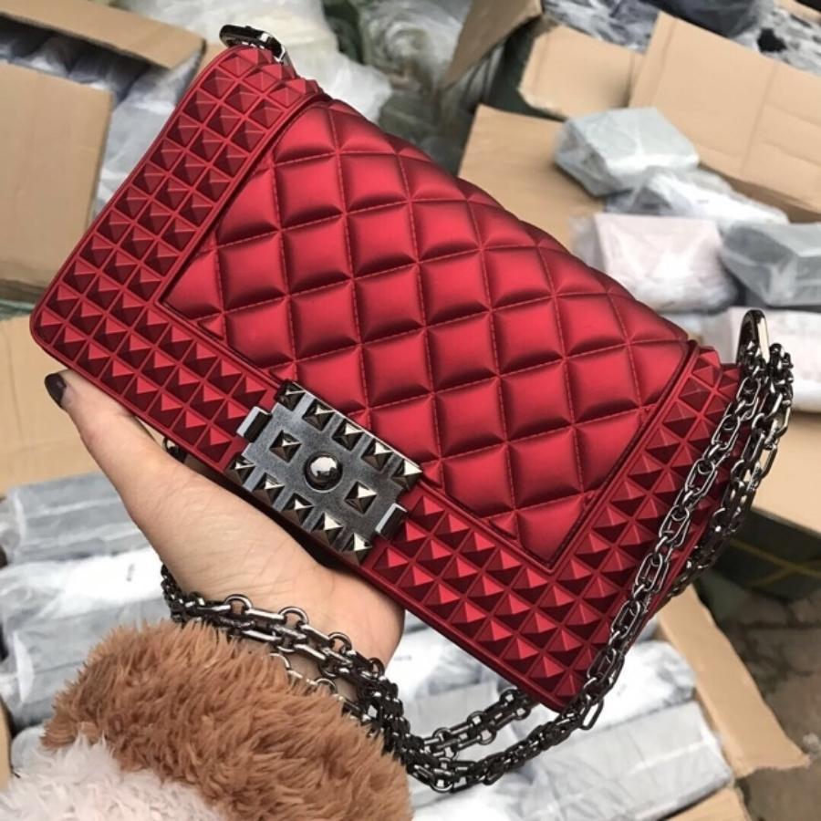 Detail Gambar tas Jelly matte boy stud rantai hitam BISA BAYAR DITEMPAT tas wanita-tas selempang-tas import 20cm Terbaru