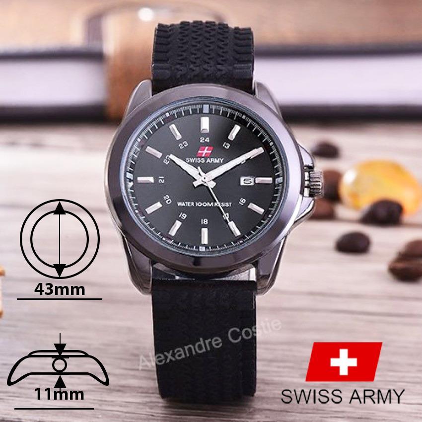 Toko Jual Swiss Army Jam Tangan Pria Body Black Black Dial Rubber Band Sa Rk B 3821 Tgl Hitam