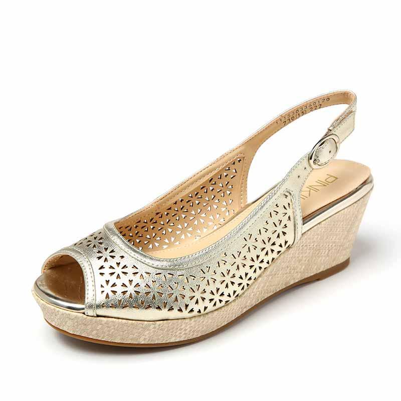 Daphne Sandal Musim Panas Wanita Yang Bermoral Lemari Sepatu Berongga Mulut Ikan (Kuning 131)