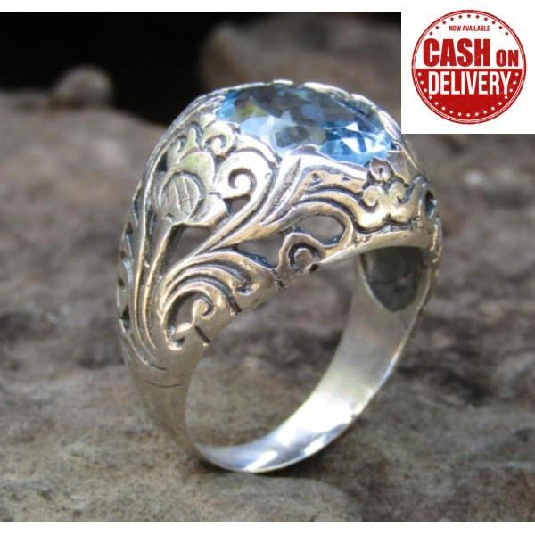 Harga Jnanacrafts Cincin Perak Motif Kembang Bun Batu Blue Topaz Online