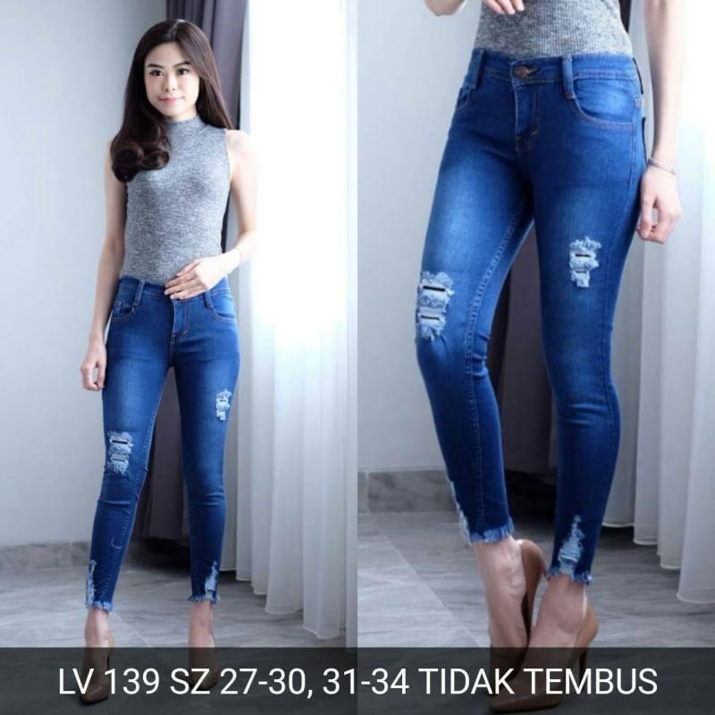 Celana panjang jeans sobek wanita Ripped jeans skinny jumbo bigsize