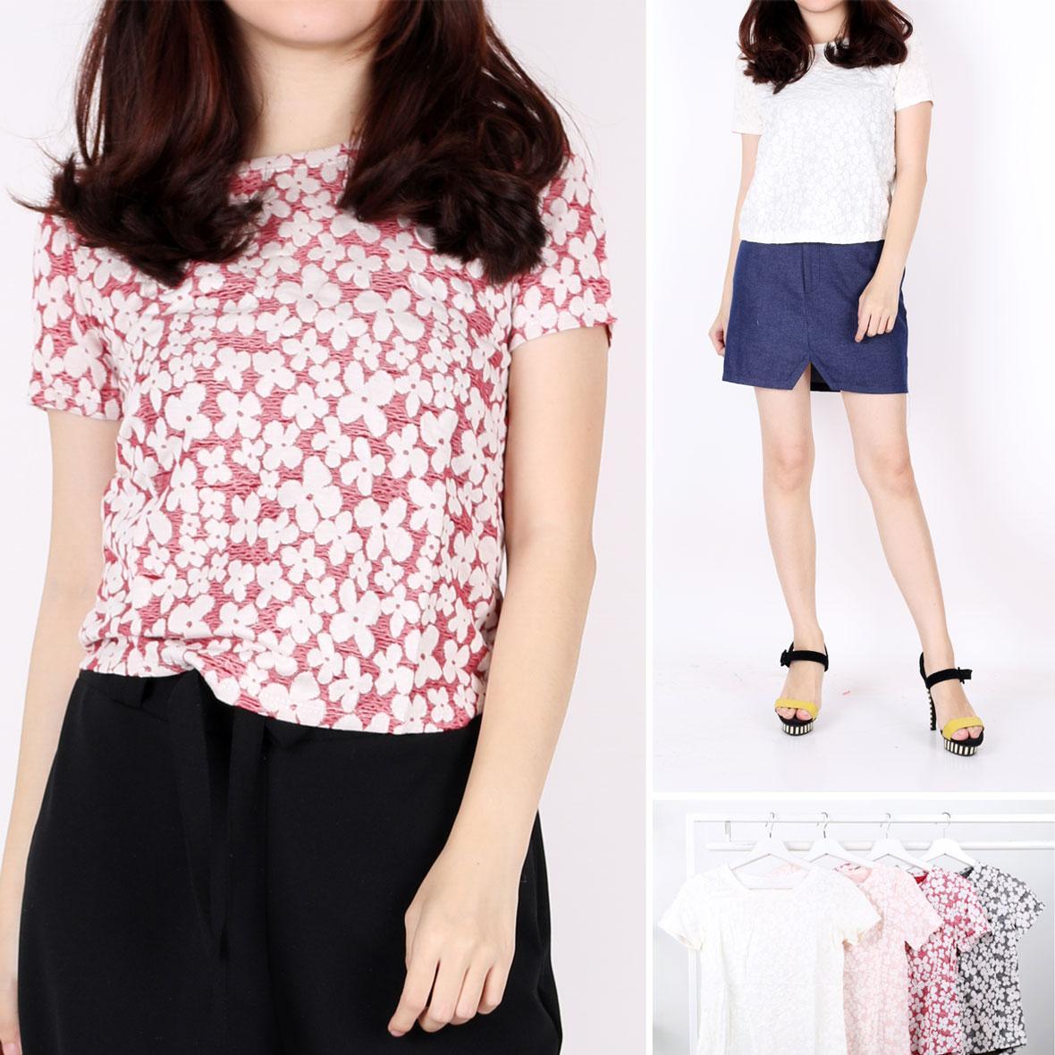 Oma Fashion Zynercah Blouse Flowers 4 Warna-Size M