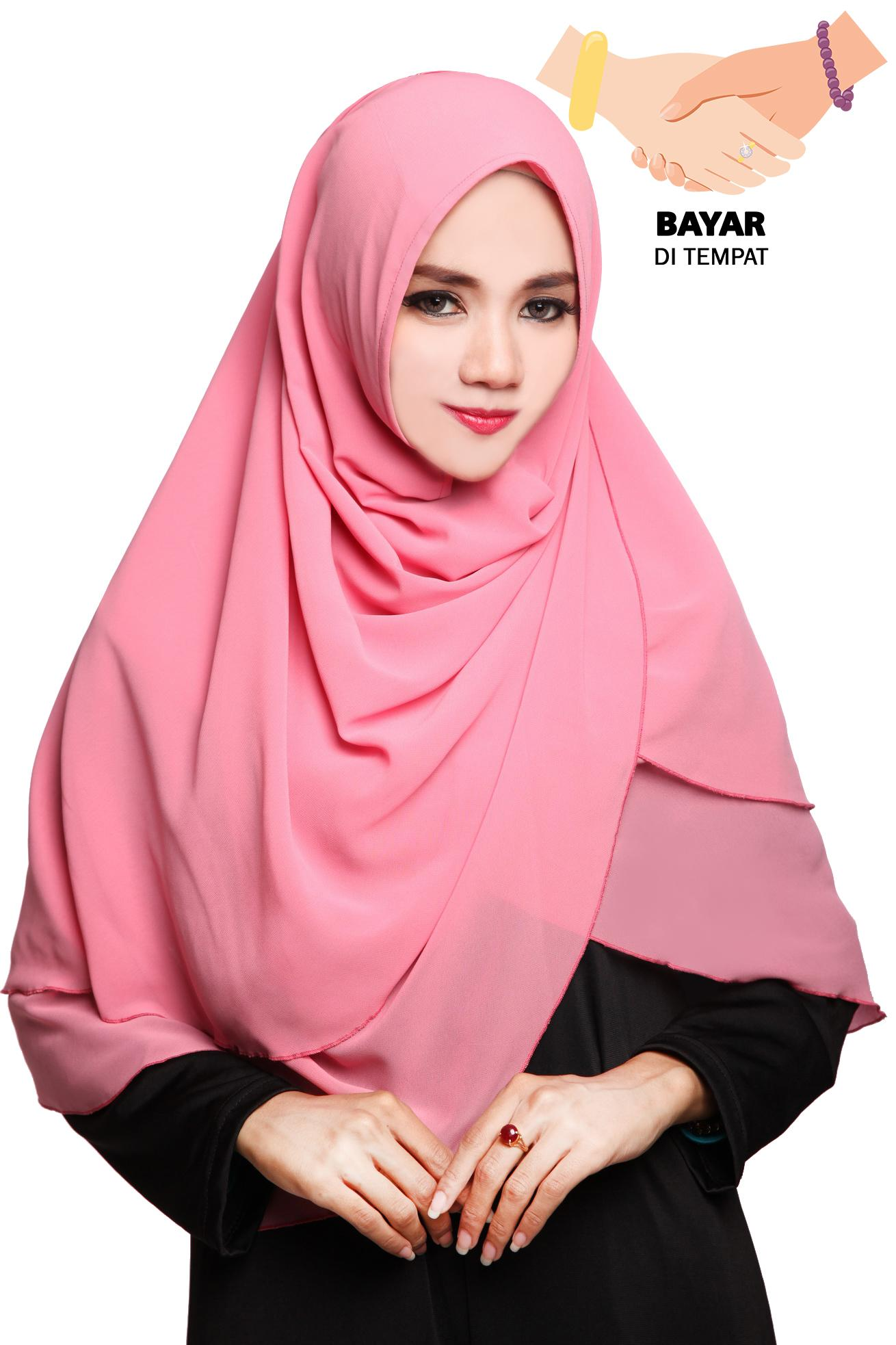 Kerudung Hijab Jilbab Instan Syari Khimar Zalwa - Dusty Pink