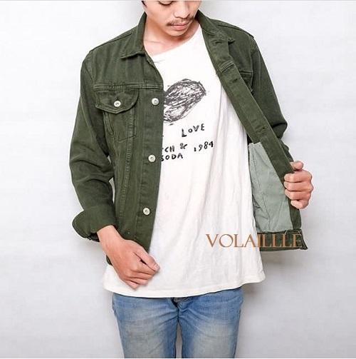 VOLAILLE - jaket jeans denim pria slim fit - best seller premium