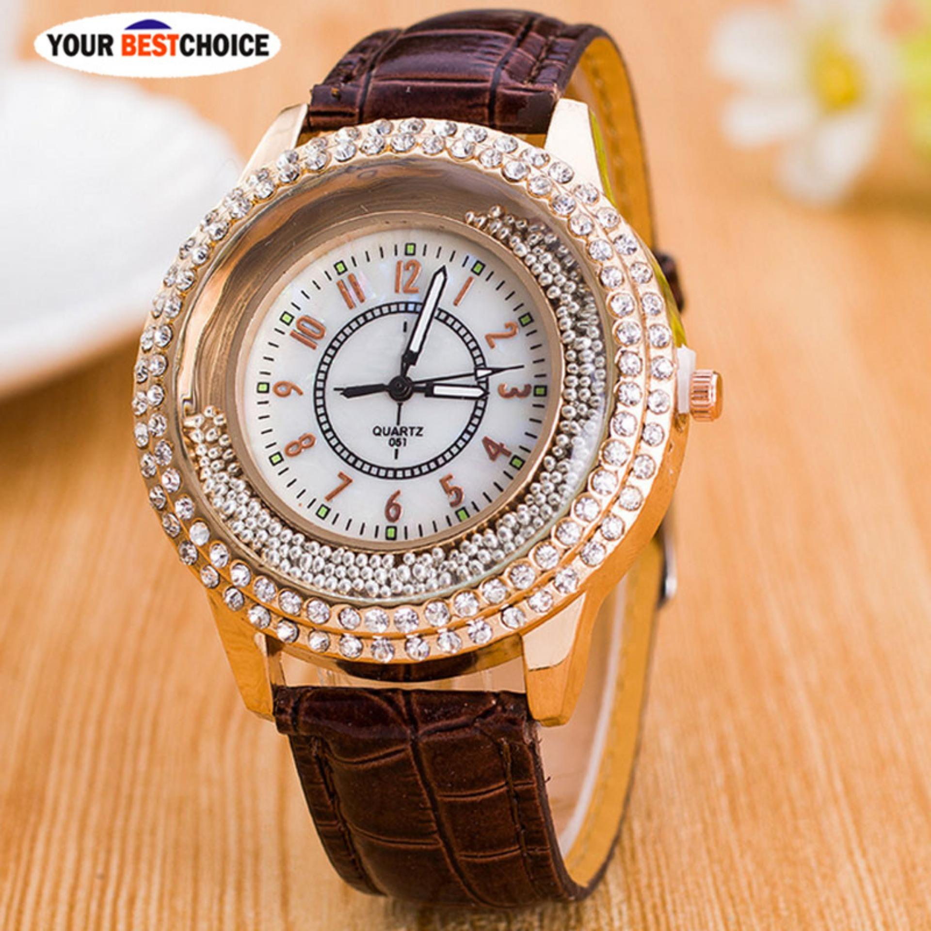 YBC Fashion Women PU Leather Watch Berlian Imitasi Kuarsa Jam Tangan Hadiah- Intl