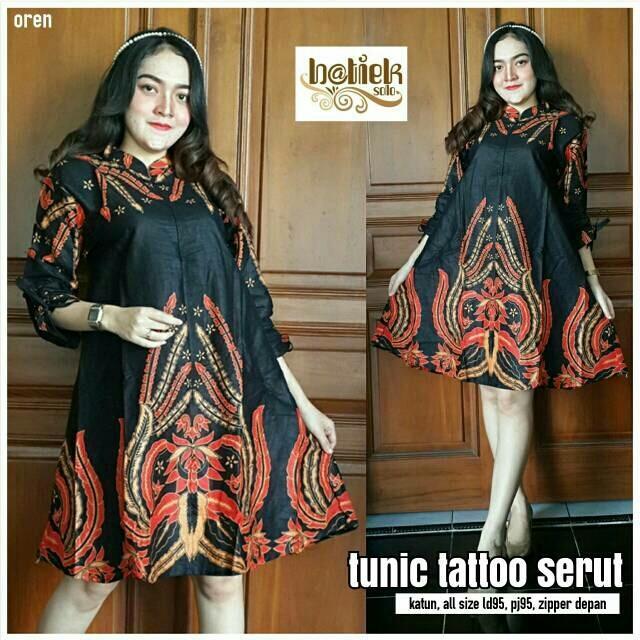 Cek Harga Baru Haha Boutique Batik Solo Tunik Tatoo Serut Motif Tato