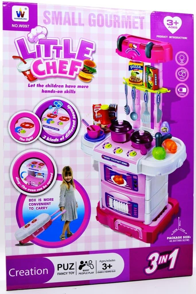 Detail Gambar Mainan Anak Perempuan Laki Laki Kitchen Set Koper 3 In 1 Pink - Little Chef Mainan Masak-Masakan Terbaru