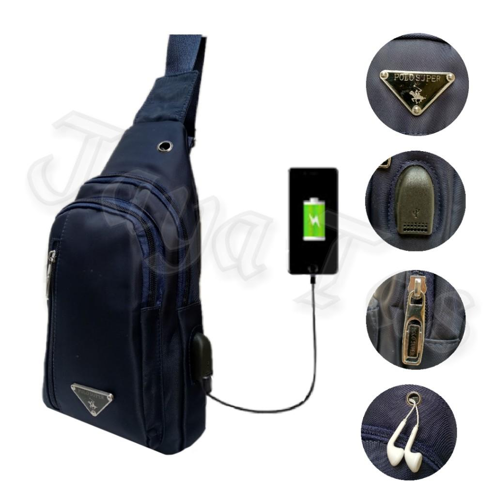 Fitur Polo Power Import Tas Pria Selempang Mini Size 6 Inchi Casual Pinggang Kulit Sling Bag