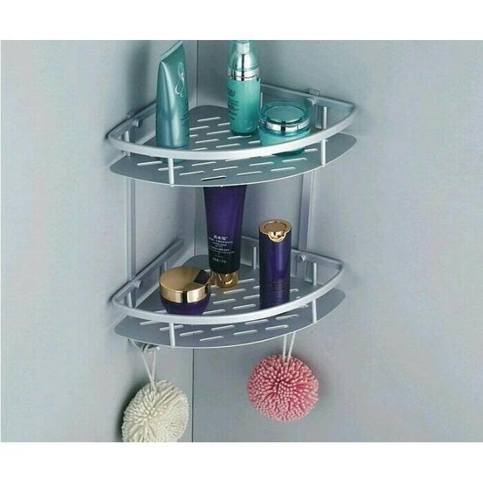 Rak Sudut Dinding Toilet 2 Susun Peralatan Mandi Alumunium - 3 .