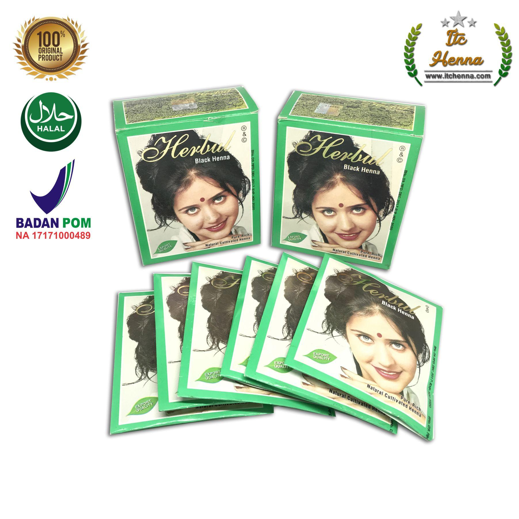 Features Herbul Dark Brown Henna Hair Dyes Pewarna Rambut Promo