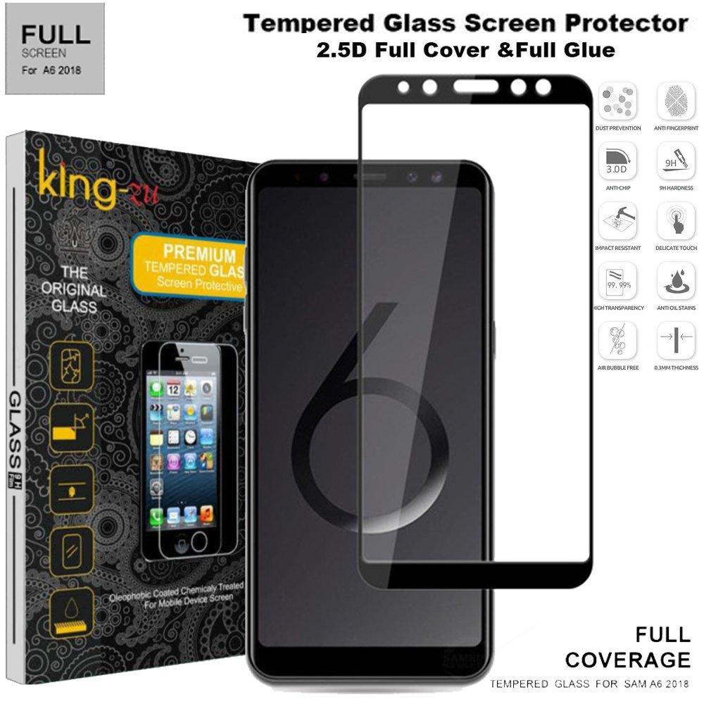 5D Anti Gores Kaca FULL LEM Samsung Galaxy A6 2018 Hitam Full Glue Tempered Glass