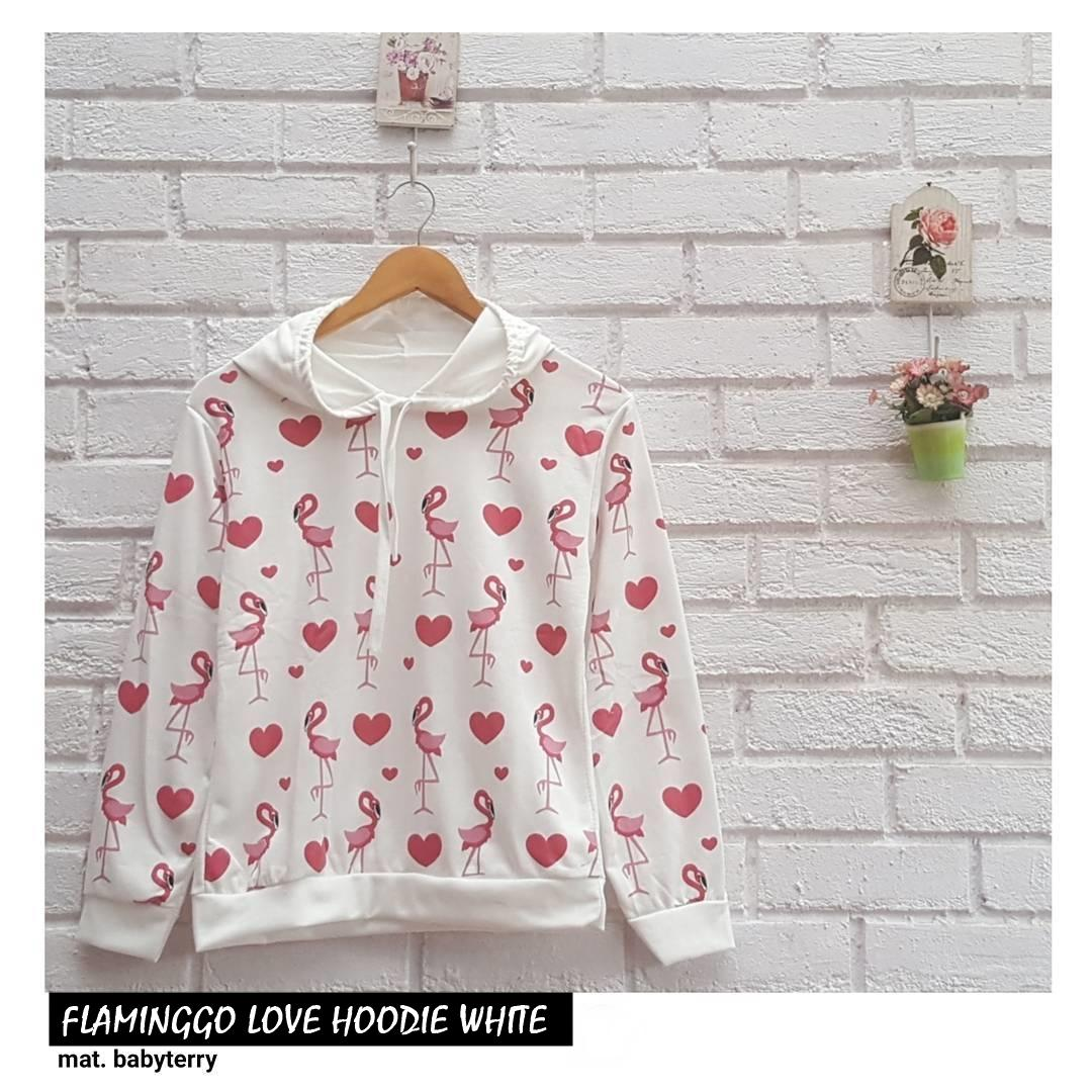 FLAMINGGO LOVE HOODIE ||| nouska shop ||| jaket sweater baju atasan blouse