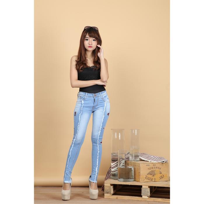 ikainovatv-Celana Jeans Skinny Wanita Elvis Fancy Bordir-Celana Wanita Terbaru-Celana Wanita