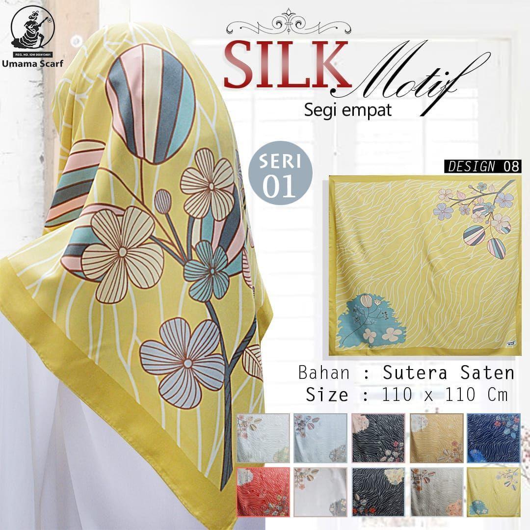 ... SILK MOTIF Umama Jilbab Satin Hijab Kerudung Segi Empat SegiEmpat Printed Motif Silk Sutera Satin ...