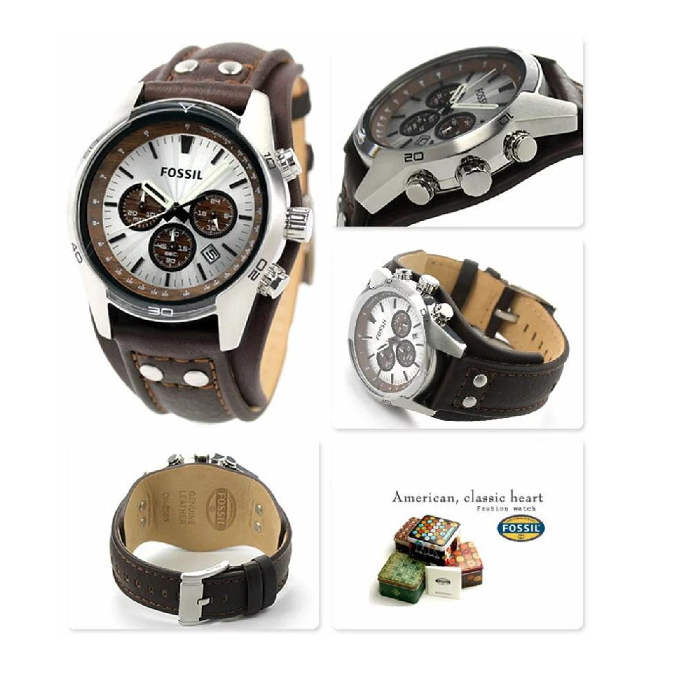 Fossil CH2565 Coachman Chronograph White Dial Brown Leather Strap - 3