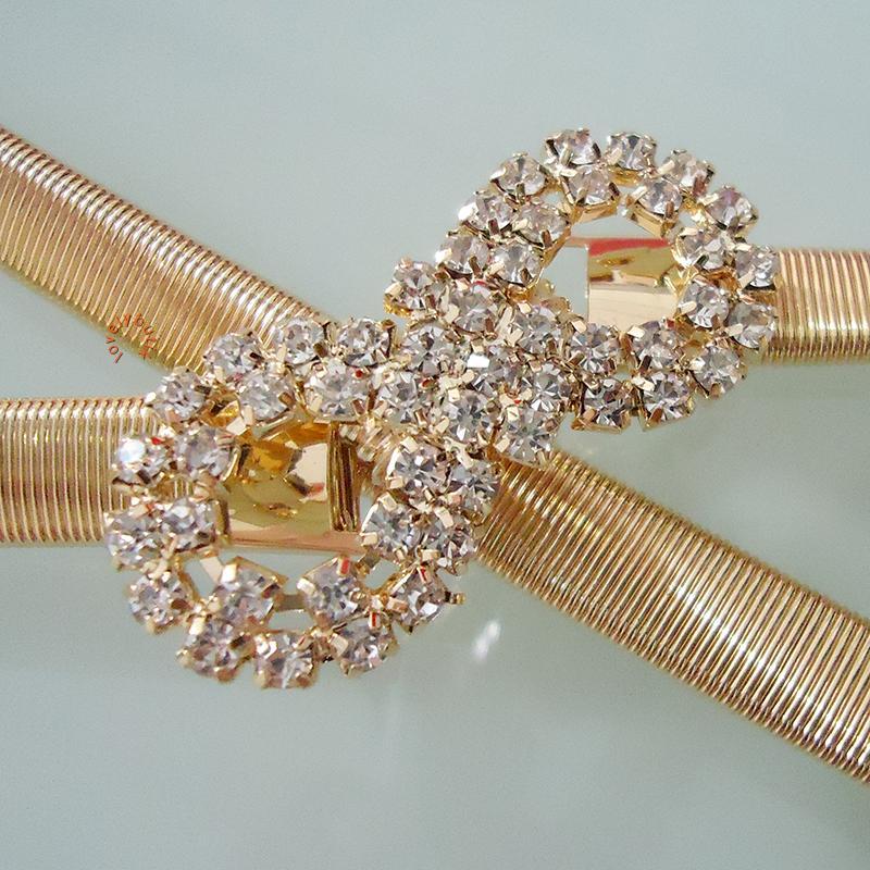 Detail Gambar Lovely Diamond Ribbon Gold Ikat Pinggang Stretch Spring Tali Pinggang Elastis Wanita / Gesper