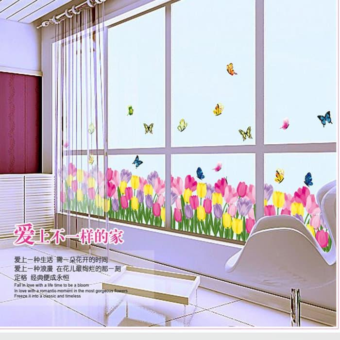 WALLPAPER STIKER TRANSPARAN 50X70 CM AY7188 : Tulip Warna-Warni - Stiker Dinding / Wall