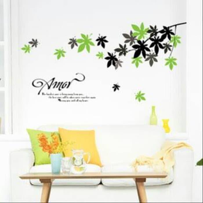 Detail Gambar wall sticker 50x70/wall stiker transparan-AY718-amor leaves Terbaru