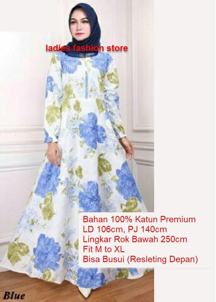 Gaun Gamis Katun Jepang Asli   Dress Gamis Jumbo Panjang   Baju Muslim Murah    Terusan 2abe77fa6f