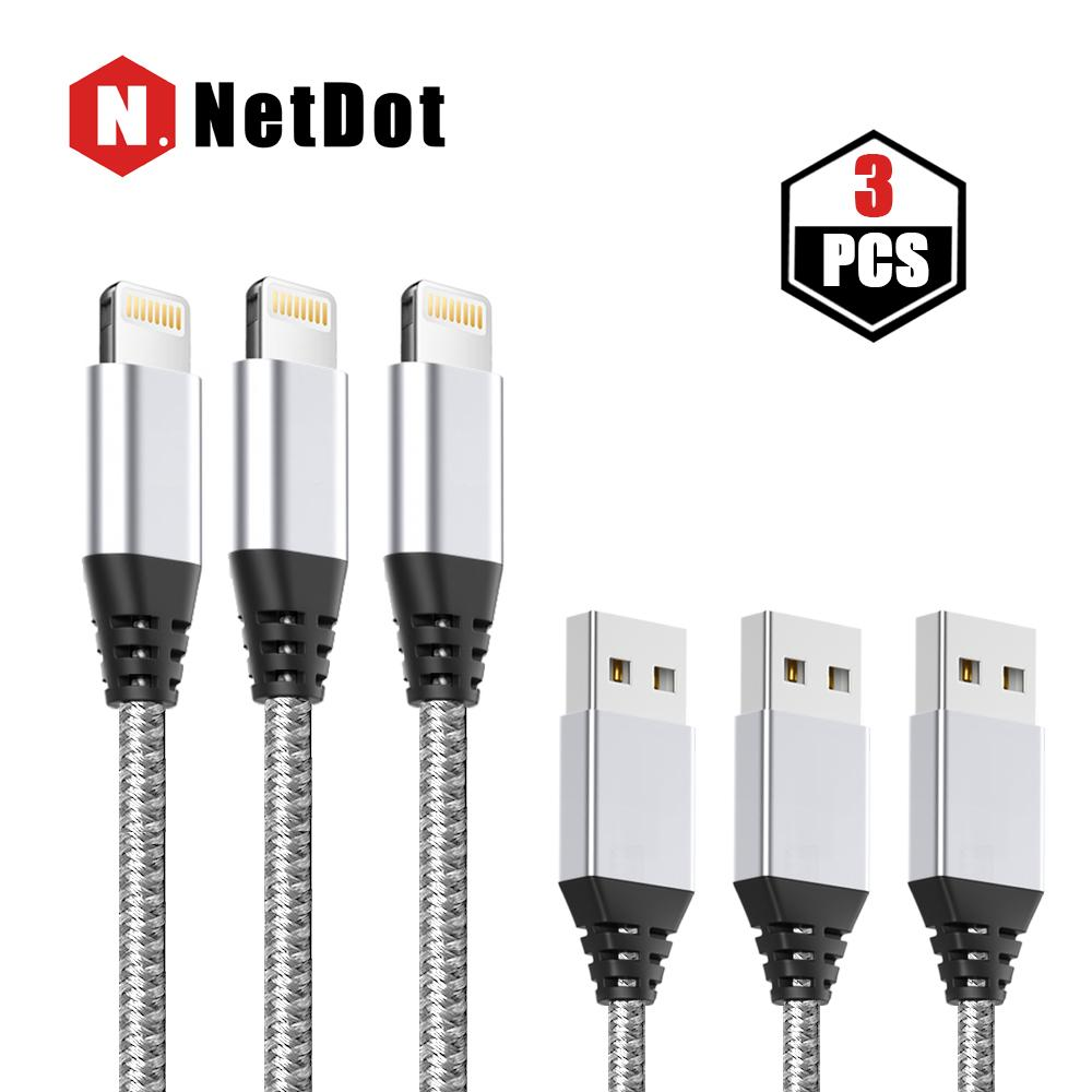 NetDot 1M Lightning ( iphone ) Transmission & Fast Charging Braided Data Cable for Apple Device