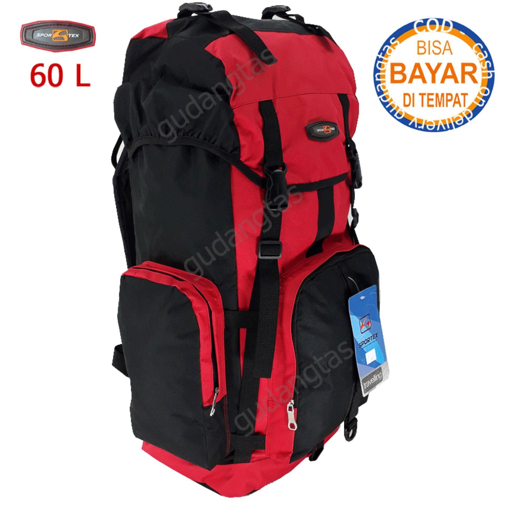 Sportex Tas Gunung Tas Keril Tas Carrier Tas Camping Tas Hiking 60L 04W4 Merah kombinasi Hitam