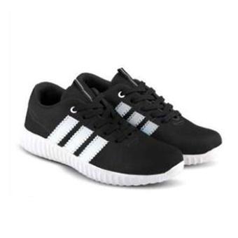 Sepatu Sekolah Hitam List Putih - KR YZ Sneaker Hitam Kece - Sepatu Wanita /Pria