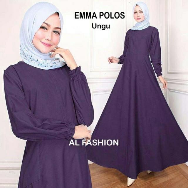 Fitur Vf Baju Muslim Terbaru Gamis Emma Maxi Polos Hitam Biru Dan