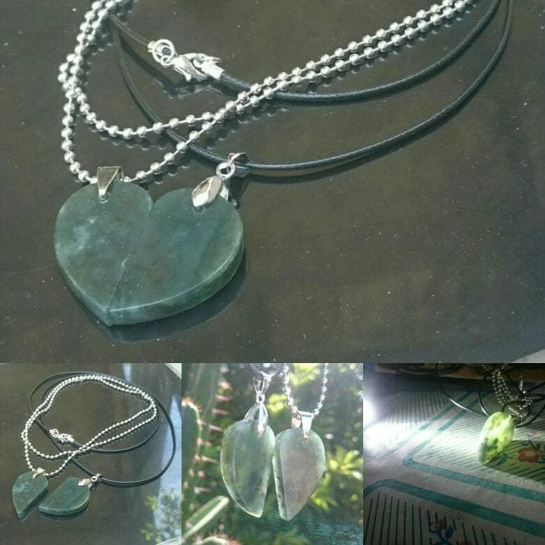 NEW PROMO Perhiasan Aksesoris Kalung Liontin Couple Love Giok Blue Jade Aceh Murah